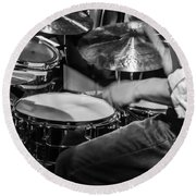 Drummer At Work Round Beach Towel