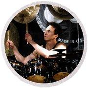 Drummer Terry Bozzio Round Beach Towel