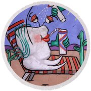 Round Beach Towel featuring the painting Dry Tooth Dental Art By Anthony Falbo by Anthony Falbo
