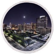 Dte In Detroit Round Beach Towel by Nicholas  Grunas