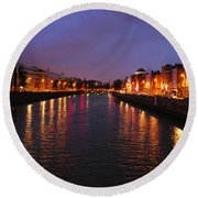 Dublin Nights Round Beach Towel by Mary Carol Story
