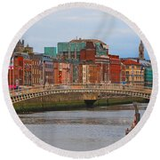 Dublin On The River Liffey Round Beach Towel by Mary Carol Story