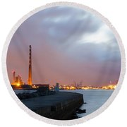 Dublin Port At Night Round Beach Towel