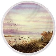 Duck Hunting Companions Round Beach Towel