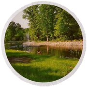 Round Beach Towel featuring the photograph Duck Pond With Water Fountain by Amazing Photographs AKA Christian Wilson