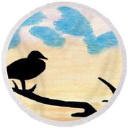 Round Beach Towel featuring the drawing Duck Sunset by D Hackett