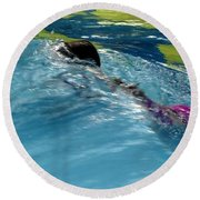 Ducking Under A Wave In A Pool Round Beach Towel by Kerri Mortenson