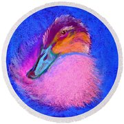 Duckling Pretty In Pink Round Beach Towel