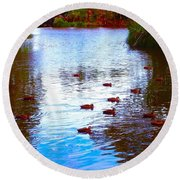 Round Beach Towel featuring the photograph Ducks  by Mark Blauhoefer