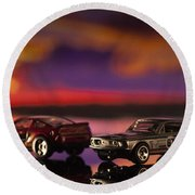 Dueling Mustangs Round Beach Towel