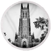 Duke Chapel In Black And White Round Beach Towel by Emily Kay