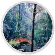 Duke Gardens Watercolor Batik Round Beach Towel