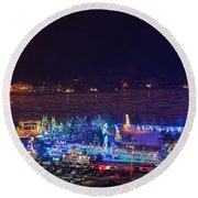 Duluth Christmas Lights Round Beach Towel
