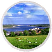 Round Beach Towel featuring the photograph Dundrum Bay Irish Coastal Scene by Nina Ficur Feenan