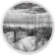 Dune Fences Round Beach Towel by Debra and Dave Vanderlaan