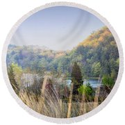Dune Lake Panorama Saugatuck Mi Round Beach Towel