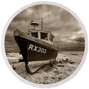 Dungeness Boat Under Stormy Skies Round Beach Towel