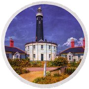 Round Beach Towel featuring the photograph Dungeness Old Lighthouse by Chris Lord