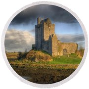 Dunguaire Castle With Dramatic Sky Kinvara Galway Ireland Round Beach Towel