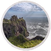Dunnottar Castle And The Scotland Coast Round Beach Towel