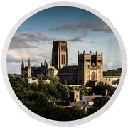 Round Beach Towel featuring the photograph Durham Cathedral by Matt Malloy
