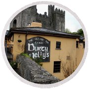 Durty Nellys And Bunraty Castle Round Beach Towel by Christiane Schulze Art And Photography