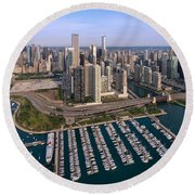 Dusable Harbor Chicago Round Beach Towel