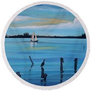 Dusk Approaching  Round Beach Towel by Marilyn  McNish