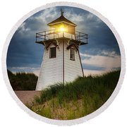 Dusk At Covehead Harbour Lighthouse Round Beach Towel