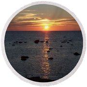 Dusk At Kettle Point Round Beach Towel