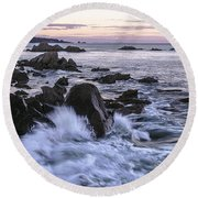 Dusk At West Quoddy Head Light Round Beach Towel