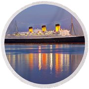 Dusk Light On The Queen Mary Round Beach Towel