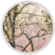 Dusk On Shoreline Trees Round Beach Towel