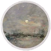 Dusk On The Commercial Dock At Le Havre Round Beach Towel