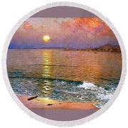Dusk Over Coast Of Malaga Round Beach Towel by Pg Reproductions