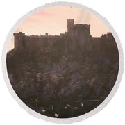 Dusk Over Windsor Castle Round Beach Towel by Jean Walker