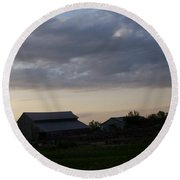 Round Beach Towel featuring the photograph Dusk Til Dawn by Bobbee Rickard