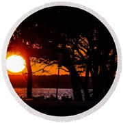 Dusky Cape Fear River  Round Beach Towel by Mary Ward