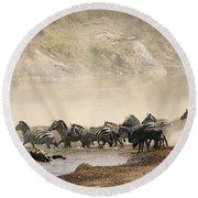 Round Beach Towel featuring the photograph Dusty Crossing by Liz Leyden
