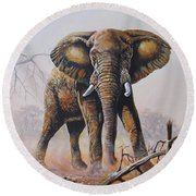 Round Beach Towel featuring the painting Dusty Jumbo by Anthony Mwangi