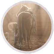 Dusty Morning Pedicure Round Beach Towel