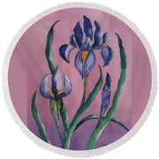 Dutch Irises Round Beach Towel