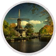 Dutch Windmill Round Beach Towel
