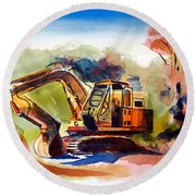 Round Beach Towel featuring the painting Duty Dozer II by Kip DeVore