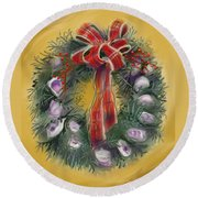 Duxbury Oyster Wreath Round Beach Towel