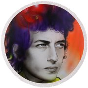 Bob Dylan - ' Dylan ' Round Beach Towel by Christian Chapman Art