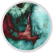 Round Beach Towel featuring the drawing Dylan With Mood Texture by Paul Davenport