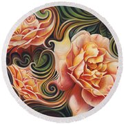 Dynamic Floral V  Roses Round Beach Towel
