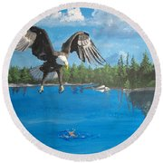 Eagle Attack Round Beach Towel
