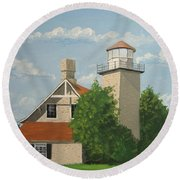 Round Beach Towel featuring the painting Eagle Bluff Lighthouse Wisconsin by Norm Starks